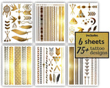 Terra Tattoos 75 Gold Arm Tattoos - Temporary Metallic Tattoos