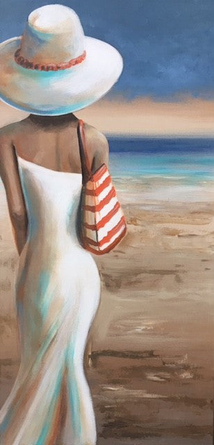 Beach Stroll With Orange Bag - Canvas Art Online Australia from Go Arty