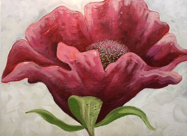 Contemporary Poppy With Green - Canvas Art Online Australia from Go Arty