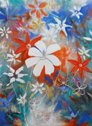 Floral Forest Blue Hues - Canvas Art Online Australia from Go Arty