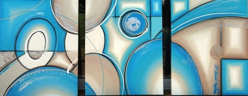 Atmospheric Aqua Triptych - Canvas Art Online Australia from Go Arty
