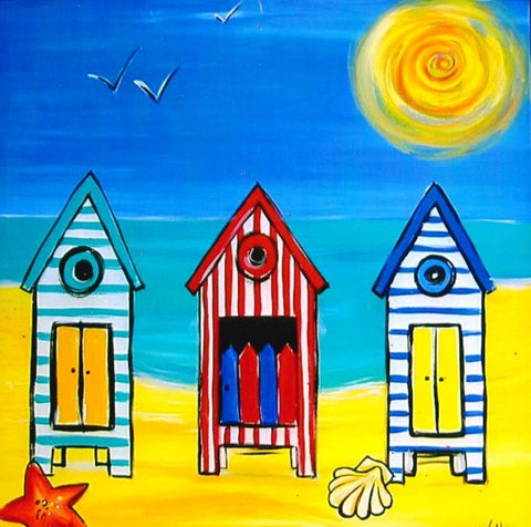 Beach Huts - Canvas Art Online Australia from Go Arty