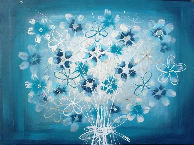 Blissful Bouquet Aqua - Canvas Art Online Australia from Go Arty