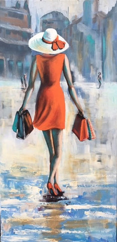 City Stroll In Orange - Canvas Art Online Australia from Go Arty