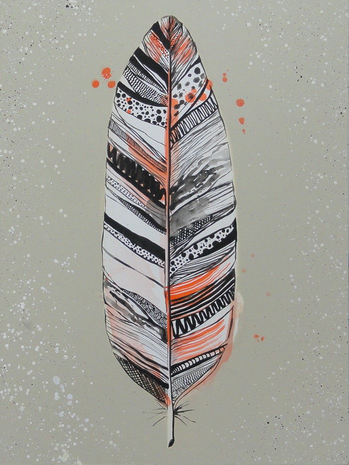 Feather Orange - Canvas Art Online Australia from Go Arty