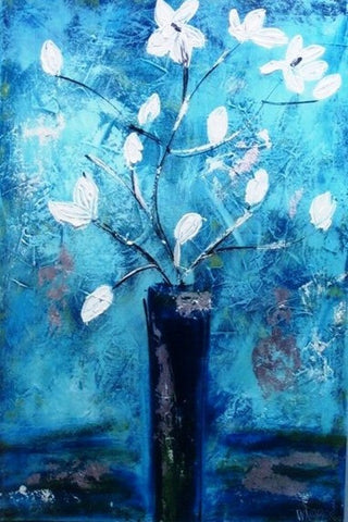 Flowers In Blue - Canvas Art Online Australia from Go Arty