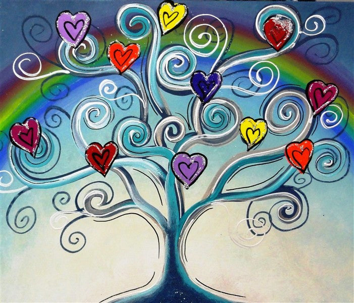 Funky Love Tree - Canvas Art Online Australia from Go Arty