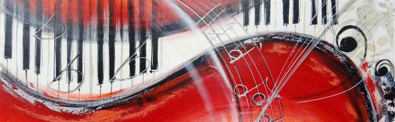 Musical Keyboard In Red - Canvas Art Online Australia from Go Arty