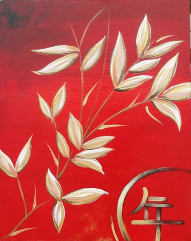 Red Asian Bamboo - Canvas Art Online Australia from Go Arty