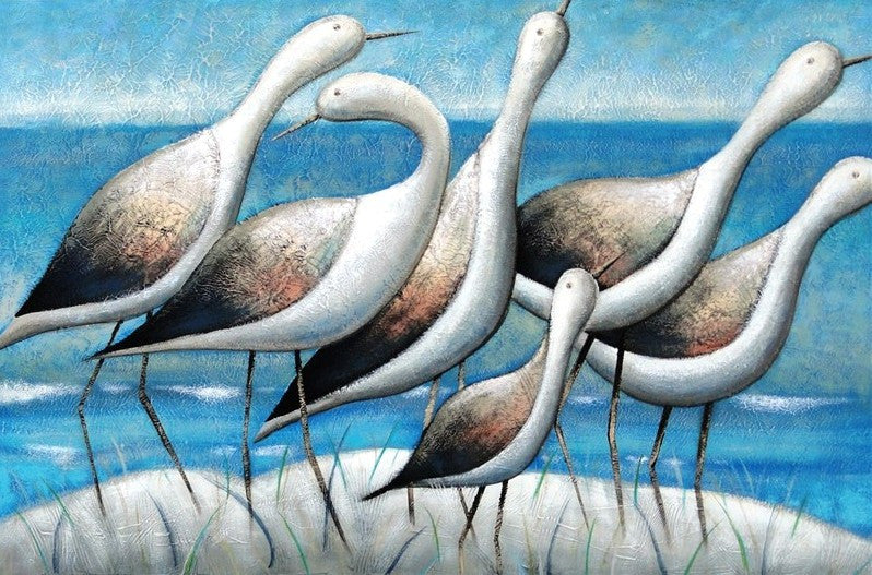 Seashore Birds Blue - Canvas Art Online Australia from Go Arty