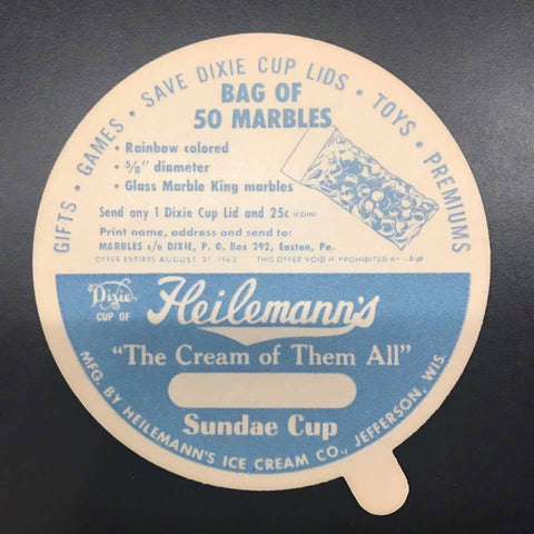 Ice Cream Cup Lid with Marble King Advertisement