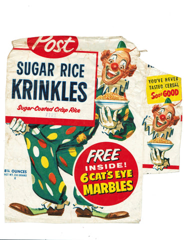 Cereal Box Wrapper for Post Sugar Rice Krinkles with Cat's Eye marbles offer