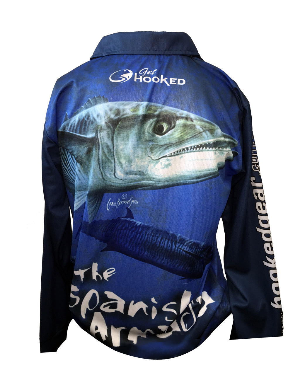 Long Sleeve Fishing Polo Tournament Shirt - Spanish Mackerel