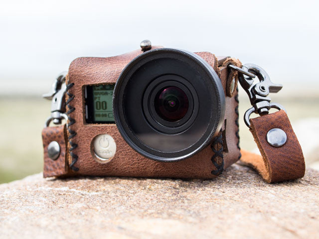 Handmade Leather Case for GoPro Hero 3, 3+, 4 with LCD BacPac Go Travler Premium Travel Gear