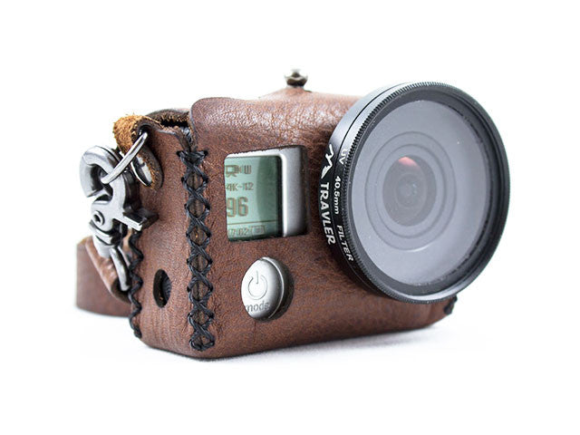 Travler Hero 3, 3+, 4 Leather GoPro Case with mm lens 001