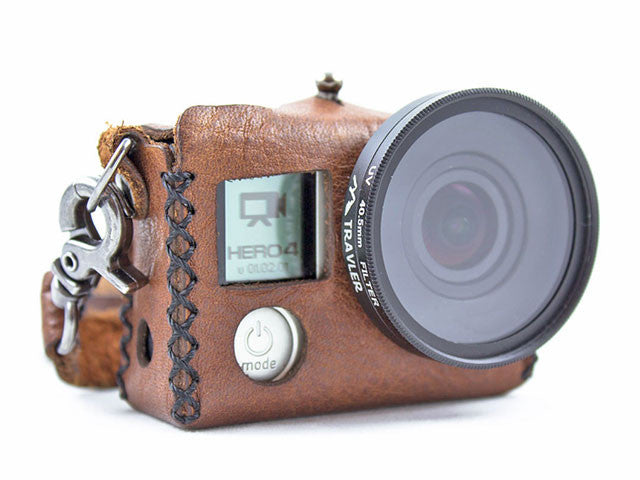 Travler Hero 4 Silver GoPro Case - Brown Leather Front