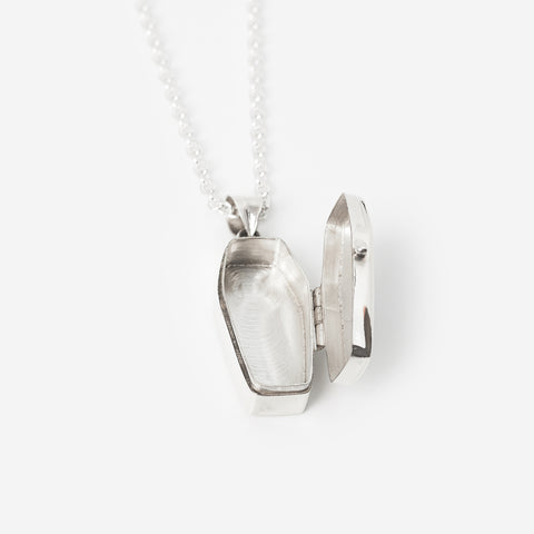Silver Coffin Necklace