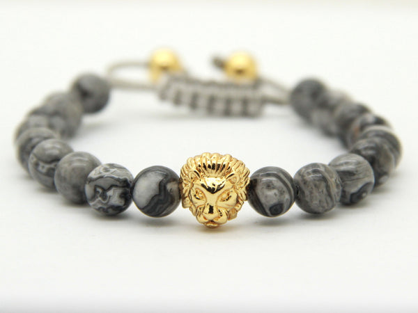 Gold Savannah Grey Vein Stone Shamballa Bracelet