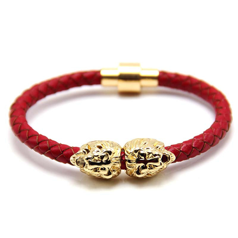 Gold Savannah Red Leather Bracelet