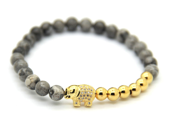Gold Elephant x Grey Vein Stone Bracelet