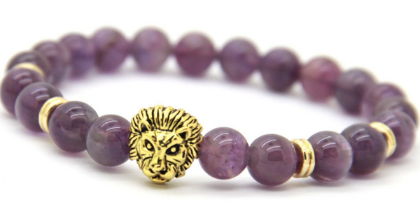 Savannah Purple Agate Stone Bracelet- Antique Gold