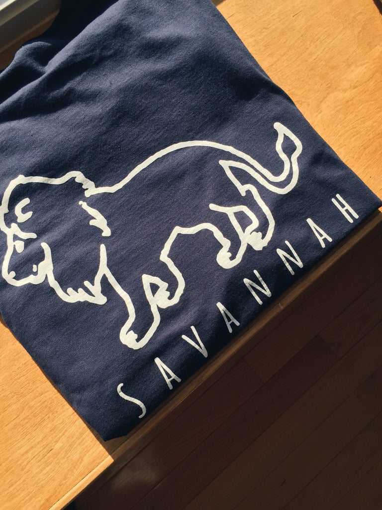 Savannah Navy Long Sleeve Pocket Tee
