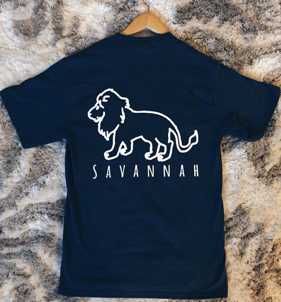 Savannah Short Sleeve Navy Pocket Tee