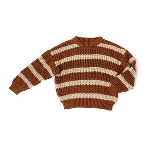 Brown Stripe Knit Sweater