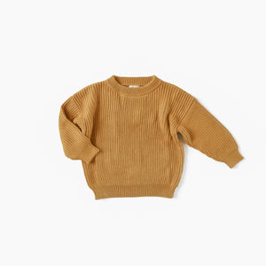 Golden Boxy Knit Sweater