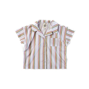Rainbow Stripe Boxy Button Up