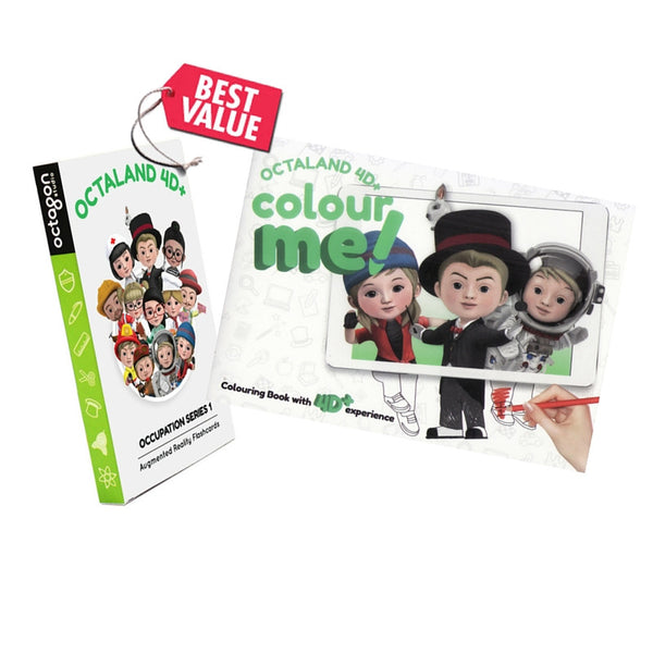Girl's favourite : 4D Octaland Cards and Coloring Book Bundle Set