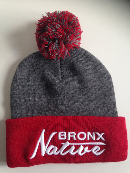 Bronx Native Beanie Red White - The Bronx Brand  Hats Skully Bronx Clothing From The Bronx Bronx Native Hip Hop