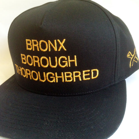 Bronx Borough Thoroughbred Snapback Black Gold - The Bronx Brand Bronx Native Bronx Clothing Apparel Hip hop The Bronx Brand Bronx Native Bronx Narratives From The Bronx Its The Bronx Hustle Desus Kid Mero BX Apparel Merch