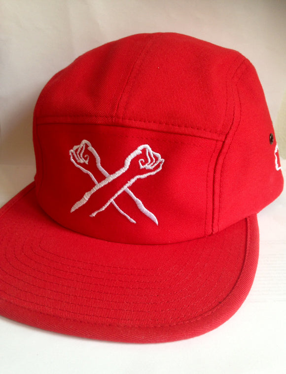 The X 5 Panel Snapback Red/White - The Bronx Brand