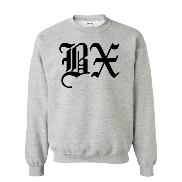 BX Old English Sweatshirt Black Grey - The Bronx Brand - Sweatshirt BX Bronx Clothing From The Bronx Bronx Native The Get Down