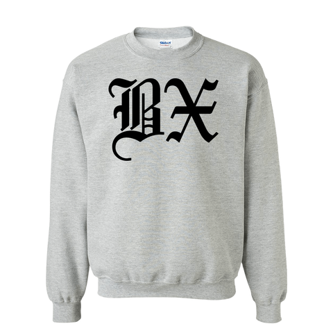 BX Old English Sweatshirt Black Grey - The Bronx Brand - Sweatshirt BX Bronx Clothing From The Bronx Bronx Native The Get Down Hip Hop