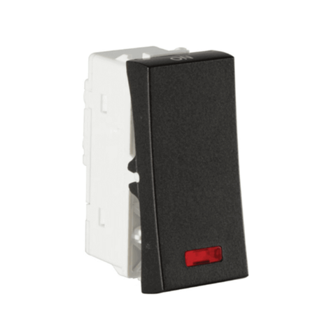 Havells Modular Coral Ebony 10A 1Way With Indicator Switch AHCSXIG101