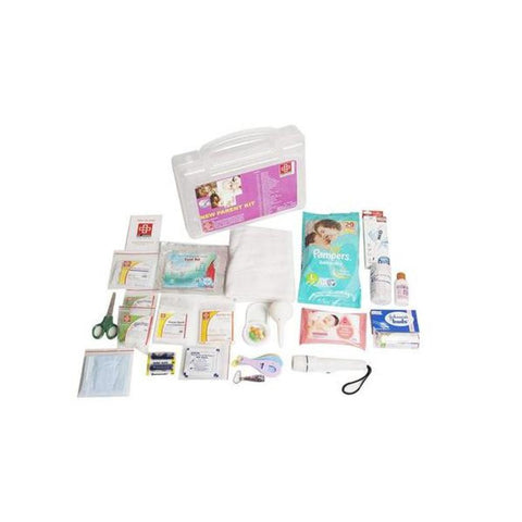 St.John's New Parent First Aid Kit - Plastic Box Medium Handy - Transporent - 62 Components - Suitable For Parent SJF NP