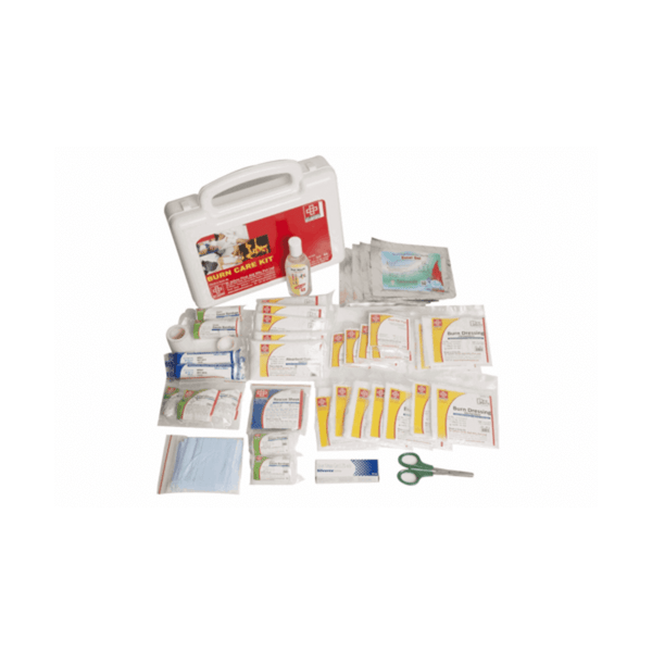 St.John's Burn Care First Aid Kit - Plastic Box Medium Handy - White - 44 Components SJF BK