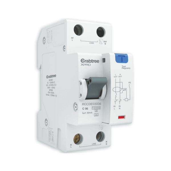Crabtree XPRO Series RCBO - A Type (SP&N – 2M) 30mA