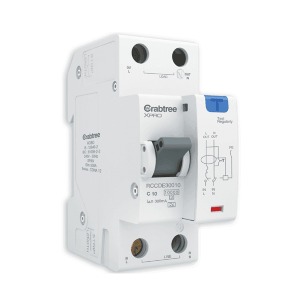 Crabtree XPRO Series RCBO - A Type (SP&N – 2M) 300mA