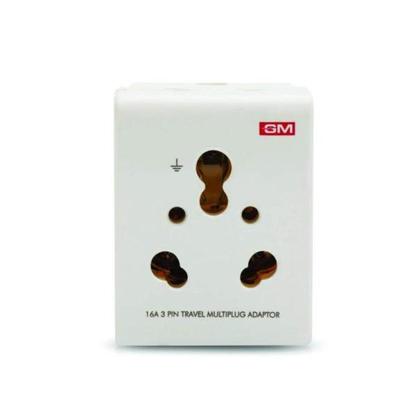 GM 16A 3-Pin Multi Plug Adapter (White – GM3050