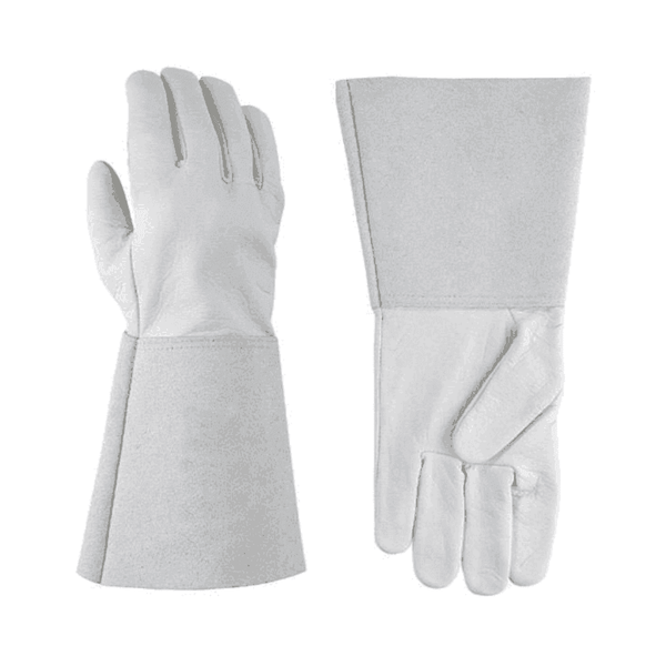 SK Safety Leather Gloves – White 14 Inch (Without Inner Lining)