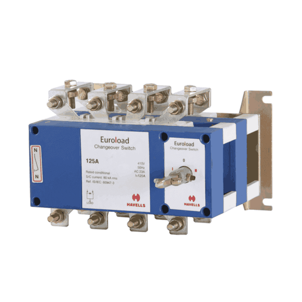 Havells Euroload On-Load Changeover  Switch with Advance Neutral 125-200A Four Ploe With SS Enclosure