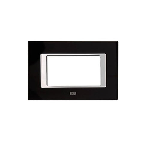 Anchor Roma Clear Glass Cover Plates Space Black