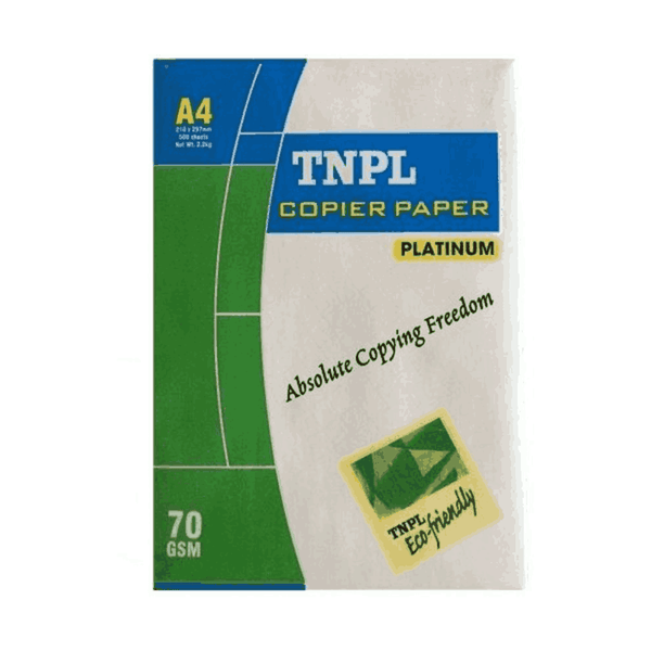 TNPL Bright Unruled A4 size Paper 70 GSM White (Pack of 5)