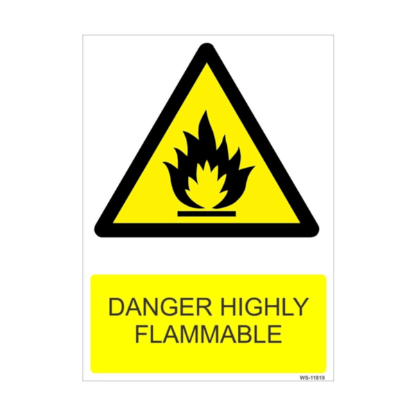 Maxigo Danger Highly Flammable Sign 11 inch x 8 inch (Pack Of 5)