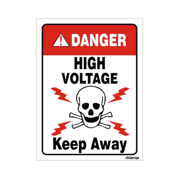 Maxigo Danger High Voltage Keep Away Sign 200 x 150 mm HV-KEEPAWAY-VINYL-30(8X6) (Pack Of 5)