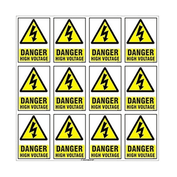 Maxigo High quality Vinyl Danger High Voltage Stickers (Pack Of 5)
