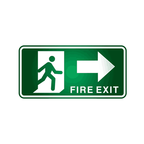 Maxigo Fire Exit In RIght Sticker 400 x 150 mm (Pack Of 5)